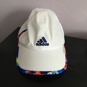 White Adidas Hat With Colored Trim